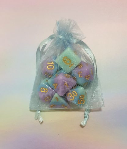 Purple blue aqua dungeons and dragons polyhedral dice set
