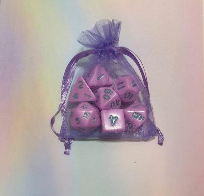 Pastel purple dungeons and dragons polyhedral dice set