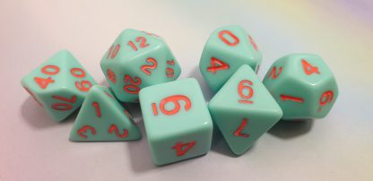 Aqua orange dungeons and dragons polyhedral dice set