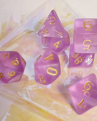 Purple matte dungeons and dragons polyhedral dice set