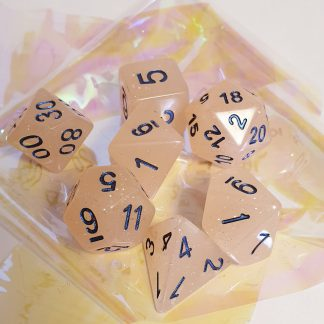 Peach glitter dungeons and dragons polyhedral dice set