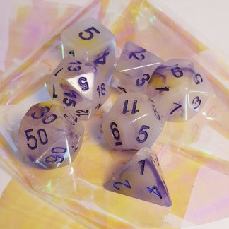 Purple yellow opal effect dungeons and dragons polyhedral dice set