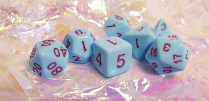 Blue purple dungeons and dragons polyhedral dice set