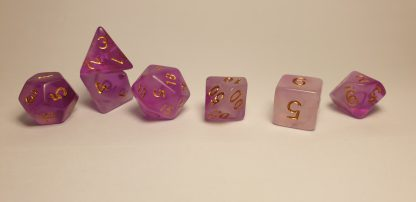 Purple tone dungeons and dragons polyhedral dice set