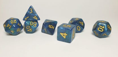 Blue nebula galaxy effect dungeons and dragons polyhedral dice set