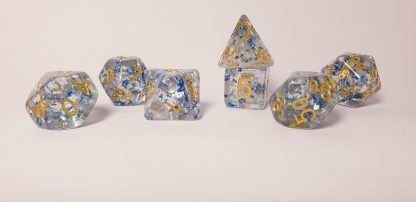 Blue glitter dungeons and dragons polyhedral dice set