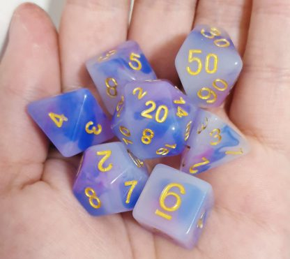 Blue purple opal effect dungeons and dragons polyhedral dice set