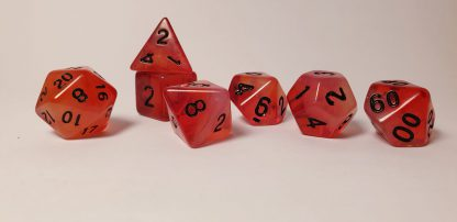 Red black dungeons and dragons polyhedral dice set