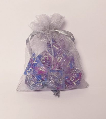 Purple blue and silver glitter dungeons and dragons polyhedral dice set