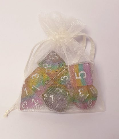 Glitter rainbow polyhedral dungeons and dragons dice set