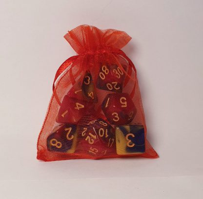 Red blue yellow marble polyhedral dungeons and dragons dice set