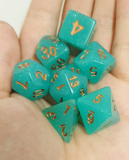 Aqua glitter polyhedral dungeons and dragons dice set