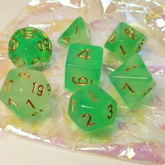 Bright green polyhedral dungeons and dragons dice set