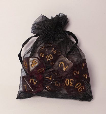 Burgundy red polyhedral dungeons and dragons dice set