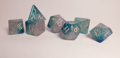 Handmade polyhedral dungeons and dragons dice set in aqua and pearl with glitter