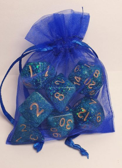 Handmade polyhedral dungeons and dragons dice set in green with glitter