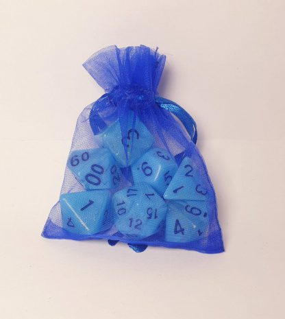 Beauregard blue dungeons and dragons polyhedral dice set