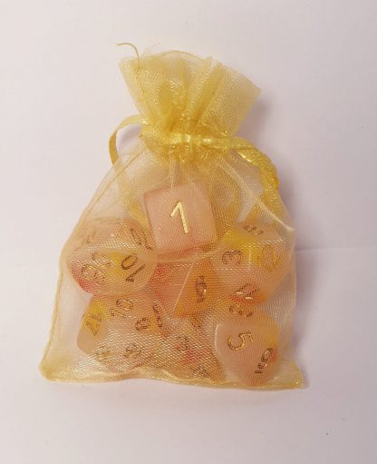 Caleb red yellow opal effect dungeons and dragons polyhedral dice set