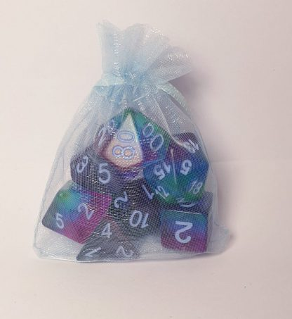 Jester purple green blue dungeons and dragons polyhedral dice set