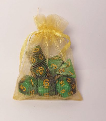 Nott green black yellow dungeons and dragons polyhedral dice set