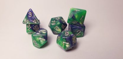 Fjord purple green dungeons and dragons polyhedral dice set