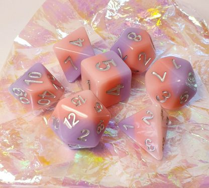 Pink and purple dungeons and dragons polyhedral dice set