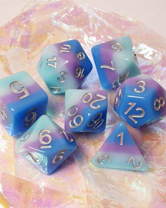 Aqua, purple, blue rainbow dungeons and dragons polyhedral dice set