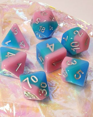 Pink teal blue rainbow dungeons and dragons polyhedral dice set