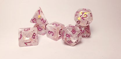 Pink iridescent dungeons and dragons polyhedral dice set
