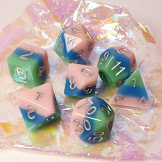 Pink, blue, green dungeons and dragons polyhedral dice set