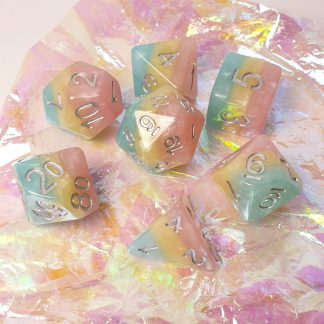 Pastel rainbow dungeons and dragons polyhedral dice set