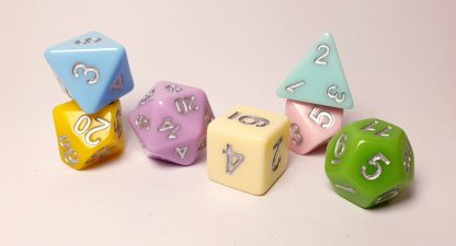 Rainbow pastel dungeons and dragons polyhedral dice set