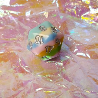 Multicoloured polyhedral dungeons and dragons dice set d20