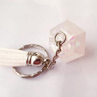 Iridescent diamond handmade keyring