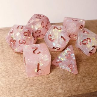 Handmade polyhedral dungeons and dragons dice set in pink iridescent