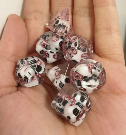 Handmade polyhedral dungeons and dragons dice set skull