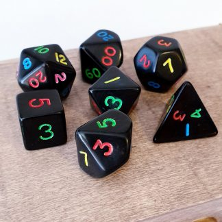 Black with rainbow numbers dungeons and dragons polyhedral dice set