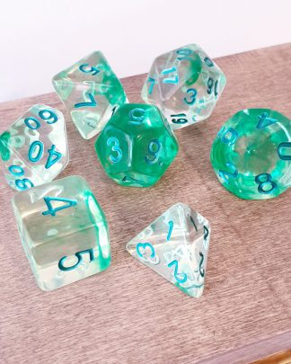 Green dungeons and dragons polyhedral dice set