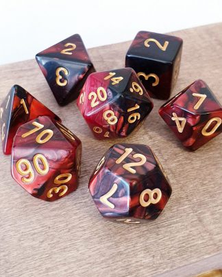 Red and black marble effect dungeons and dragons polyhedral dice set