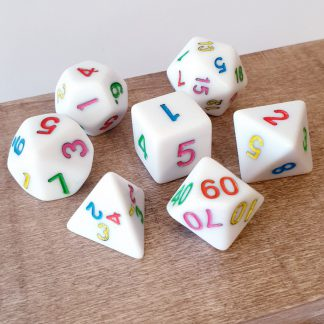 White with rainbow numbers dungeons and dragons polyhedral dice set