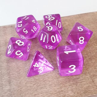 Purple dungeons and dragons polyhedral dice set