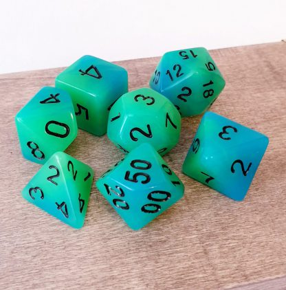 Glow in the dark green blue dungeons and dragons polyhedral dice set