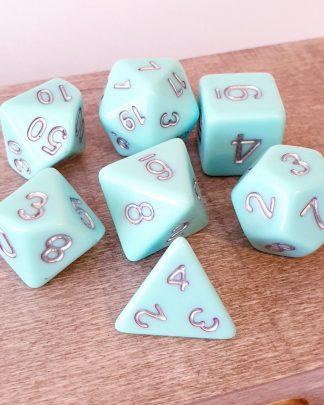 Pastel aqua green dungeons and dragons polyhedral dice set
