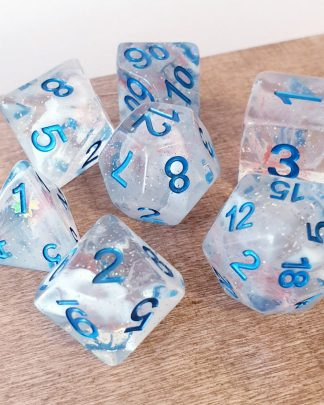 Iridescent dungeons and dragons polyhedral dice set
