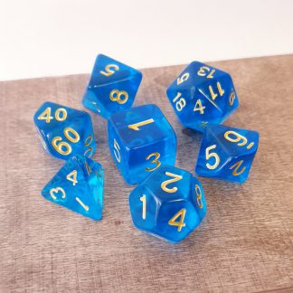 Blue and gold polyhedral dungeons and dragons dice set