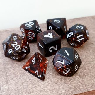 Red and glitter dungeons and dragons polyhedral dice set