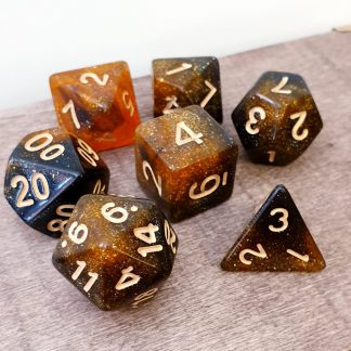 Orange and black nebula galaxy effect dungeons and dragons polyhedral dice set