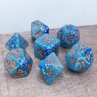 Handmade polyhedral dungeons and dragons dice set in aqua and blue with glitter