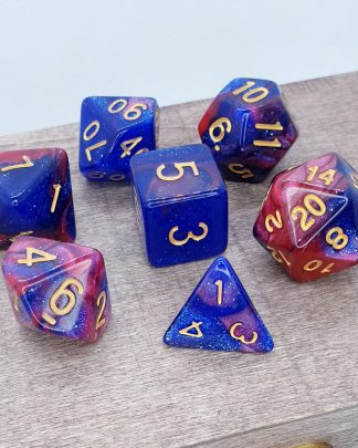 Blue and red nebula galaxy effect dungeons and dragons polyhedral dice set