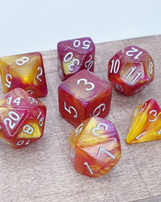 Yellow and red nebula galaxy effect dungeons and dragons polyhedral dice set